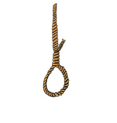 Rope noose with hangman39s knot doodle style vector