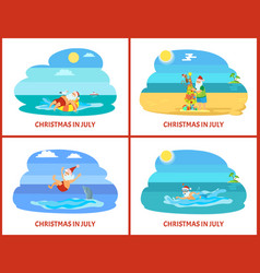 Santa christmas relaxing on water and beach vector