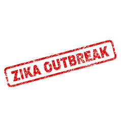 Scratched zika outbreak rounded rectangle stamp vector