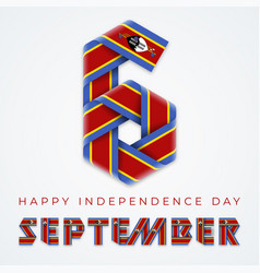 September 6 independence day eswatini vector