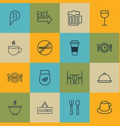 Set 16 food icons includes tea mocha vector