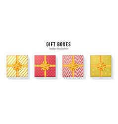 set gift boxes with yellow ribbon and bow tie vector image