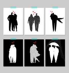 set of card with black silhouette love couple vector image