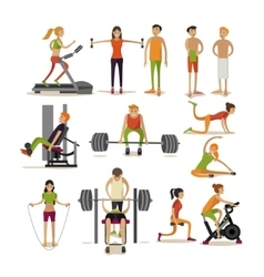 Set of people in gym characters isolated on vector
