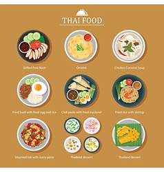 Set of thai food flat design vector