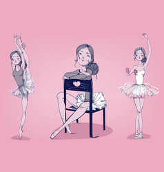 Set with cartoon ballerina vector