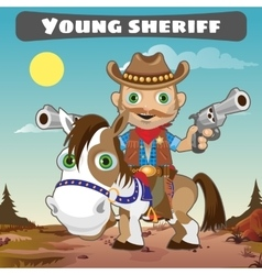 Sheriff on horse character from wild West series vector