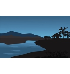 Silhouette of hut in riverbank vector image