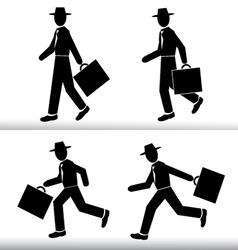 Silhouette walking and running Businessman vector image
