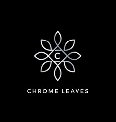 silver floral leaves initial letter type c logo vector image