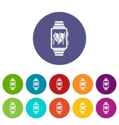 Smartwatch with sport app set icons vector image