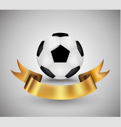 soccer ball with gold ribbon banner vector image