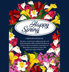 Springtime flowers greeting poster vector