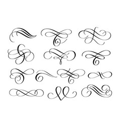 swirl flourishes ink pen calligraphy set vector image