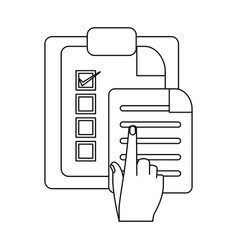 tasks on clipboard in black and white vector image