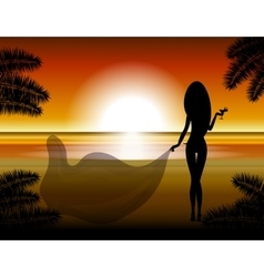 The girl looks at the sunset vector image