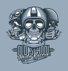 three skulls riders in helmets and text old vector image