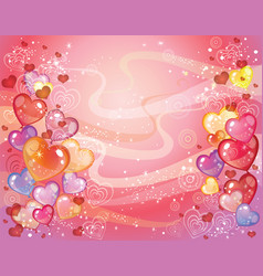 valentins day background with balloons vector image