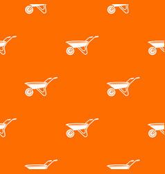 Wheelbarrow pattern orange vector