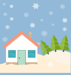 Winter house on the edge of the forest vector