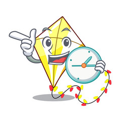 With clock kite small the cartoon on table vector