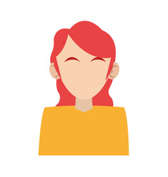 woman red hair avatar head icon image vector image