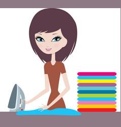 Young cartoon woman irons clothes vector