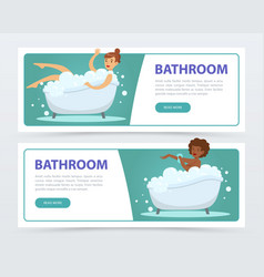 Young women taking bubble bath in bathtub banners vector