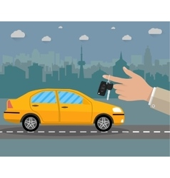 buy rental or lease car on road and cityscape vector image vector image
