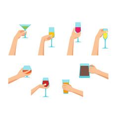 cartoon human hands holding glasses set vector image vector image