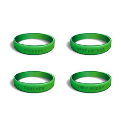 Green plastic wristband set for friendship day vector