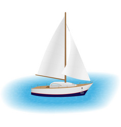 sailing yacht with white sails in a sea luxury vector image