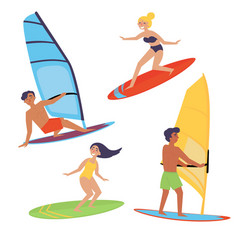 summer water beach extreme sports windsurfing vector image