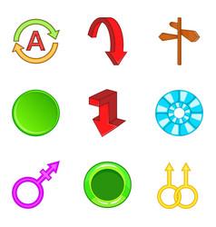 arrow button icons set cartoon style vector image vector image
