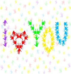 Hand prints I love you vector image