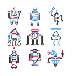 robots graphic blue collection on white vector image vector image