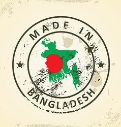 Stamp with map flag of Bangladesh vector image