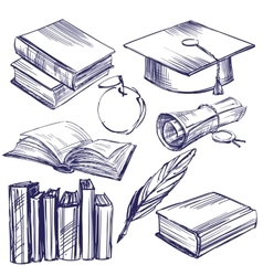 Books education vintage set hand drawn vector image