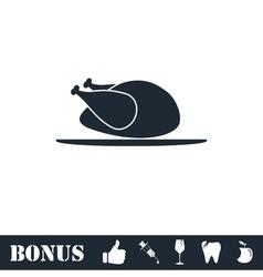 Chicken icon flat vector image vector image