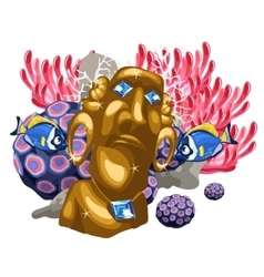 Coral reef and golden statue of the deity maya vector