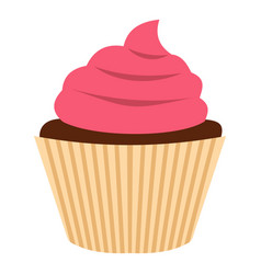pink cupcake icon isolated vector image