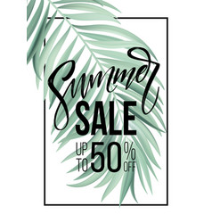 sale banner poster with palm leaves jungle leaf vector image vector image