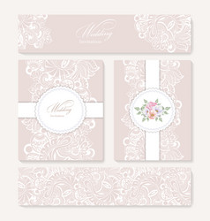 set invitation card with lace decoration vector image vector image