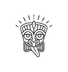 tiki icon tiki mask head thin line art polynesian vector image