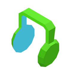 big green headphones icon for music isolated vector image vector image