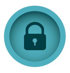 Blue circular frame with silhouette padlock vector