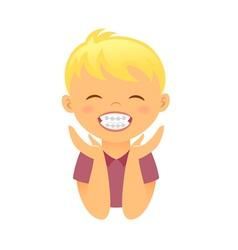 Children braces happy boy with white smile teeth vector image vector image