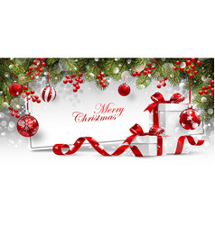 christmas card with gifts vector image