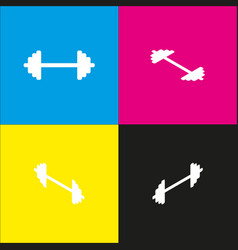 dumbbell weights sign white icon with vector image vector image