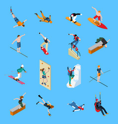 extreme sports people isometric set vector image vector image